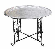 Moroccan  Vintage Aluminium Tray Or Table with Wrought Iron Legs Diameter 76 cm. 30'' (ALT7)